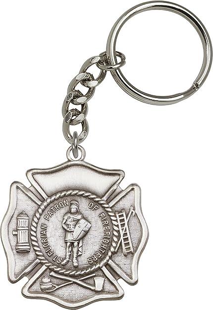 Amazon.com: Chapado en plata envejecida St. Florian Llavero ...