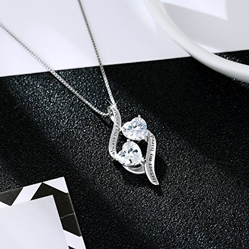 MUATOGIML 925 Sterling Silver Always My Daughter Forver My Friend Double Love Heart Pendant Necklace, 18'' Box Chain by MUATOGIML (Image #2)