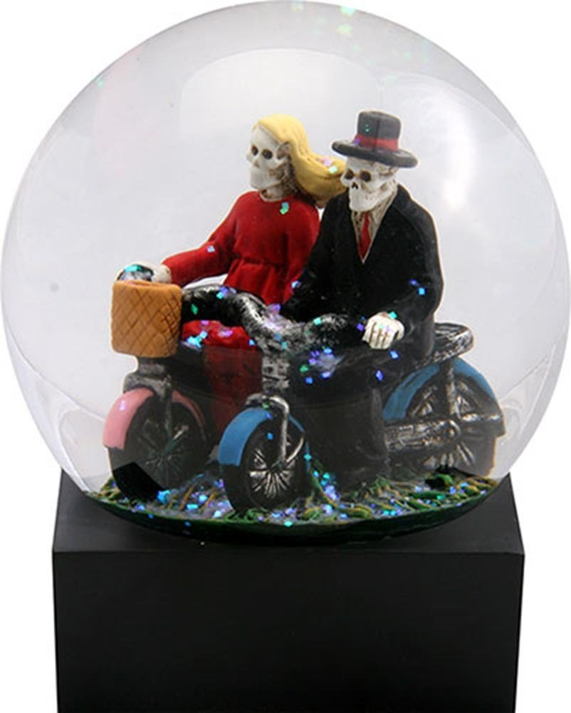 Skull Lovers on Red and Blue Bicycles in a Water Globe with Glitter