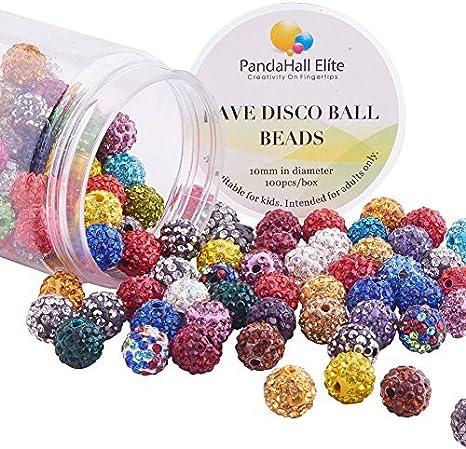 PandaHall Elite 1 Caja Arcilla de La Bola de Discoteca Cuentas, Polímero Arcilla Abalorios Redondo con Diamantes de Imitacion, Color Mezclado
