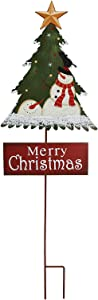 Merry Christmas Garden Stake Decor Christmas Tree Yard Stake, Outdoor Metal Christmas Welcome Sign Garden Stake Yard Sign Lawn Stake Christmas Snowman Yard Decor Holiday Decoration (Black Hat Snowman)