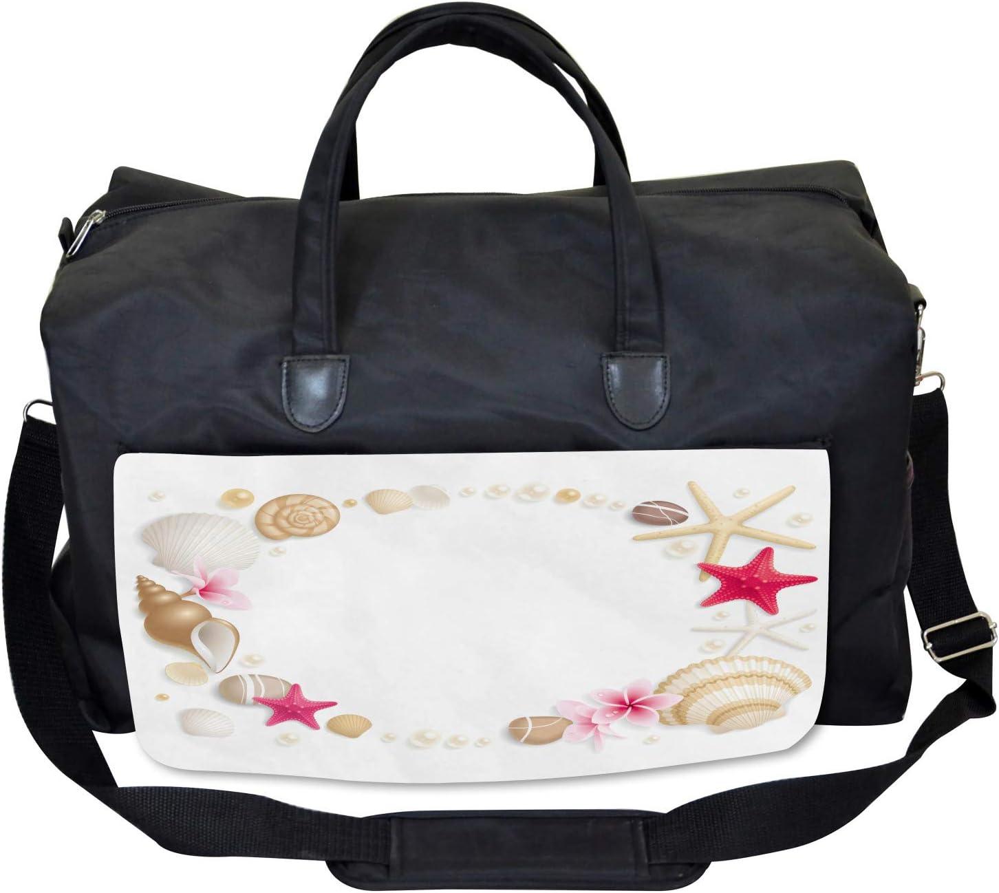 Seashells Flower Star Ambesonne Exotic Gym Bag Large Weekender Carry-on