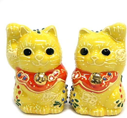 Set of 4 Japanese Maneki Neko Cat//Earthenware//Gold White Black Yellow Made Japan