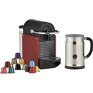 Nespresso Pixie Espresso Maker with Aeroccino Plus Milk Frother