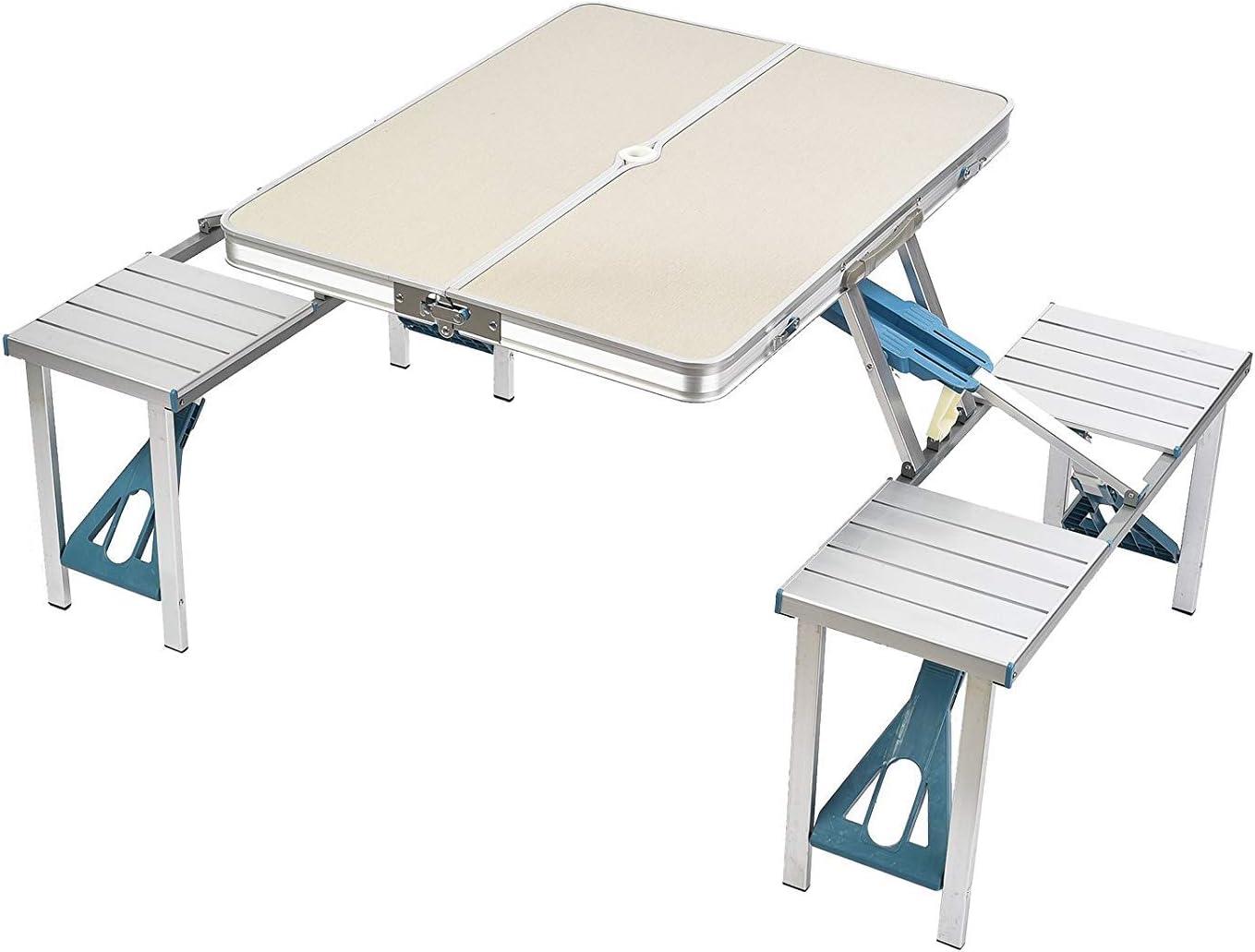 ZIHENGUO Mesa y sillas Plegables para Picnic, mesas portátiles de ...