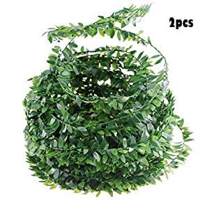 2PCS Acmer 7.5M Fake Vine for Wedding Party Ceremony Headbands,Artificial Ivy Garland Foliage Green Leaves 62