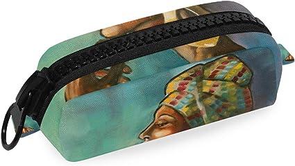 FANTAZIO Organizador de lápices de princesa africana, pintura al óleo, de lujo, estuche de cosméticos de lona para lápices o brochas de maquillaje: Amazon.es: Oficina y papelería