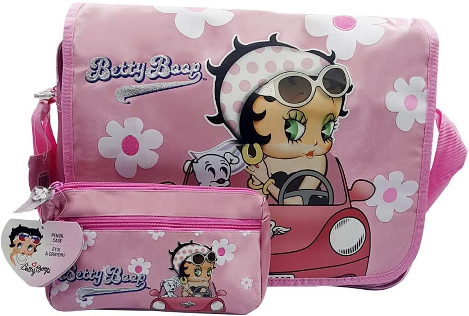 Betty Boop Large Messenger Bag | Girls Laptop Briefcase Bag | and Pencil Case Set (Pink and White)