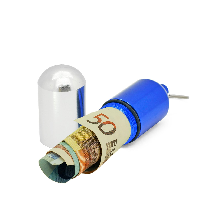 Grenhaven - Pastillero - Función de portabilletes - Impermeable - Aluminio - Azul y plateado - Grande - 8 cm: Amazon.es: Hogar
