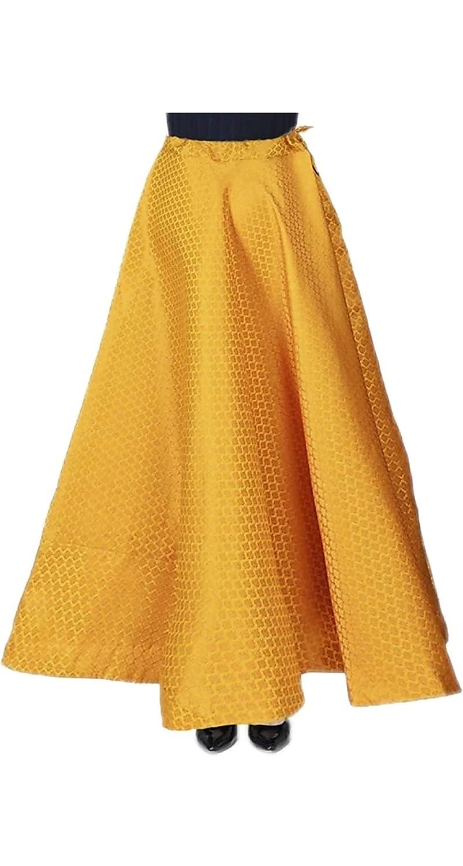 Buy SNEH Women's Maxi Brocade Silk Skirt (Yellow, Free Size) at Amazon.in