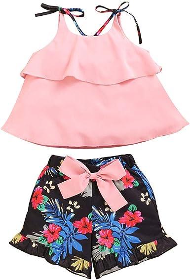 BBSMLIN Ropa Bebe Niña Verano 2020 Ropita de Conjunto Dos Piezas, Blusa de Tirantes con Volantes y Florales Pantalón Cortos - para Recién Nacido Bebé 6 a 12 18 24 Meses 1 2 3 años: Amazon.es: Ropa y accesorios