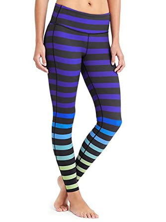 7dca2cc6b8e61 Athleta High Rise Bold Stripe Blue Chaturanga Tight Leggings - Blue -:  Amazon.co.uk: Clothing
