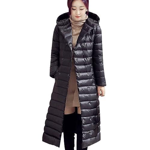 BOMOVO Abrigo de plumas de manga larga para mujer Chaqueta con capucha delgada