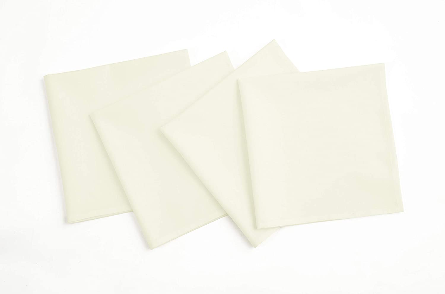 Solino Home Dru Cotton Linen Dinner Napkins – 20 x 20 Inch, Ivory Set of 4 Napkins, Natural Fabric – Machine Washable Handcrafted with Mitered Corners