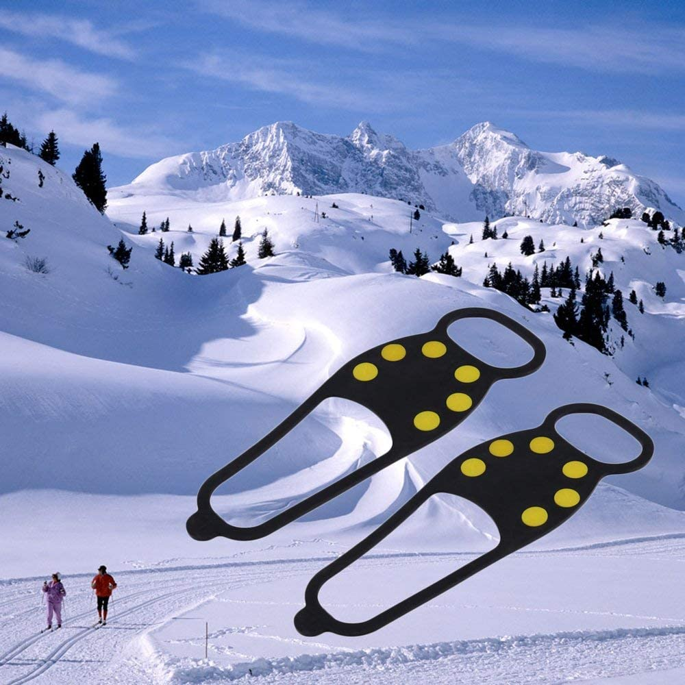 Emily Black Rubber Durable Ice Snow Anti Skid Shoe Spikes Grips Crampons Hiking Fishing Black