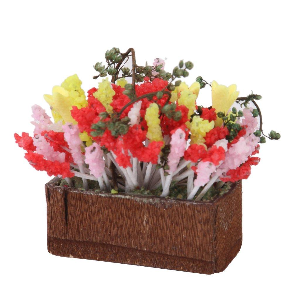 1/12 Puppenhaus Miniatur Mehr Farbe Blume Strauch mit Holz Pot OP011 MagiDeal