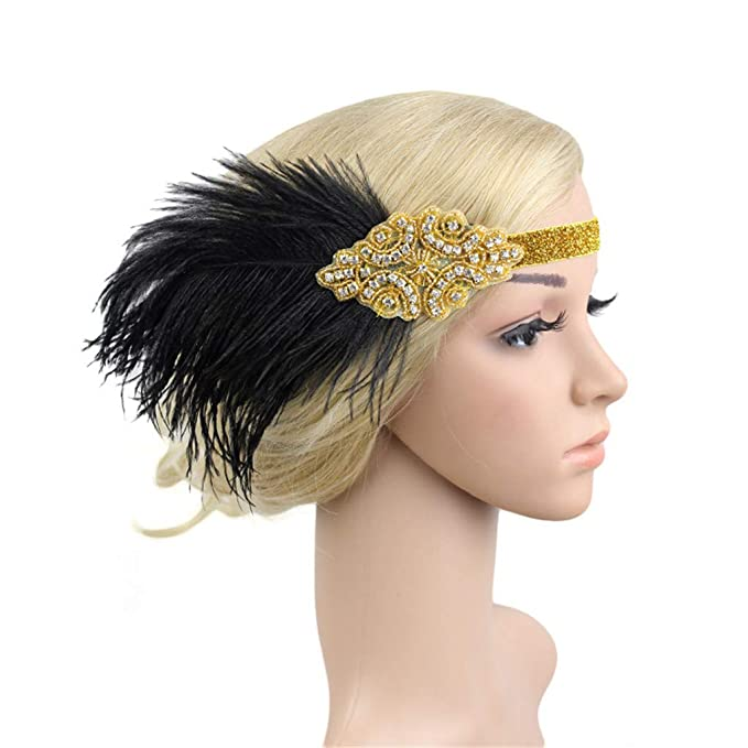 Poachers Plumes Bandeau Gatsby Flapper Des Annees Headband 1920s