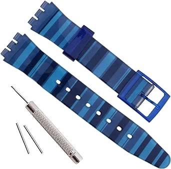 OliBoPo - Correa de repuesto de silicona impermeable para reloj Swatch (17 mm, 19 mm, 20 mm)