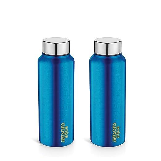 JENSONS Aqua Stainless Steel Thunder Water Bottle 750 ml-Blue Lacquered- Set of 2