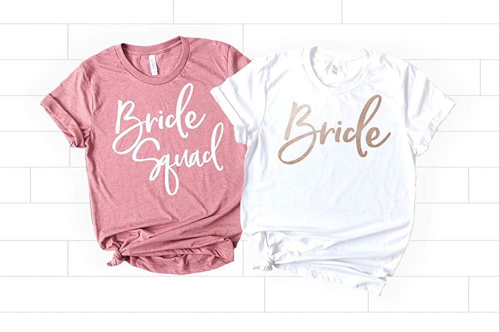 Bride Squad Shirt Boat Neck Bridesmaids Shirts Super Soft /& Lightweight Women/'s Raw Edge Terry Sweatshirt with 34 sleeves Bachelorette