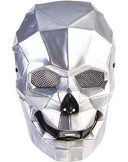 Metallic Silver Plastic Creepy Faceless Face Mask