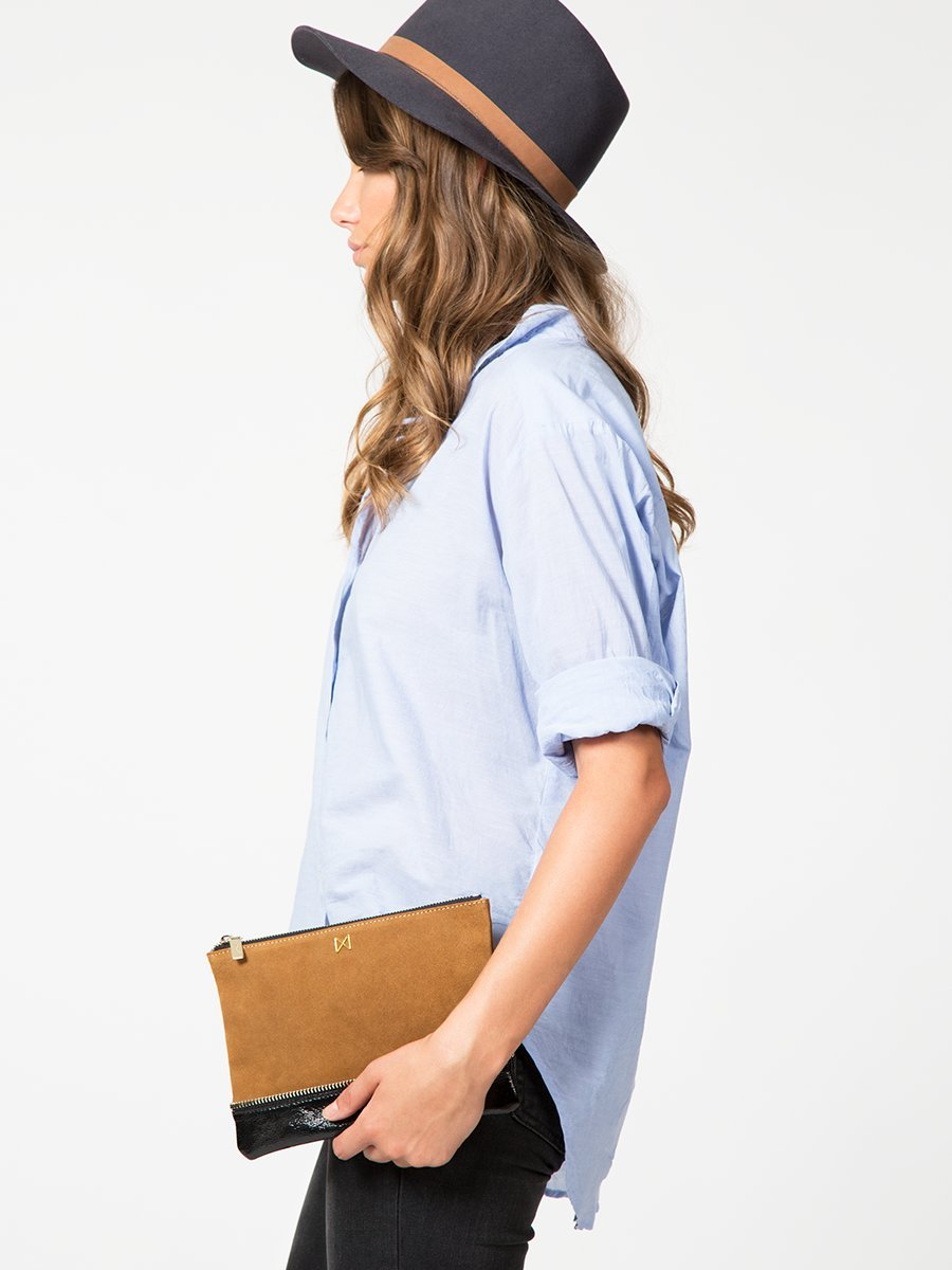 SAGE Flat Pebble Leather Pop of Color Pouch-Style Clutch with Zipper Trim Details by MOFE (Image #3)