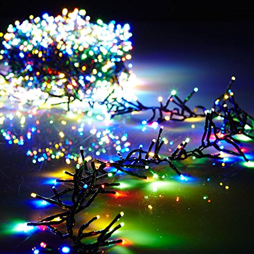 Christmas Cluster Lights 44 Foot Garland with 1300 Multi Color Lights on Green Wire with Remote Control - Raz Exclusive Twinkle Function by Raz