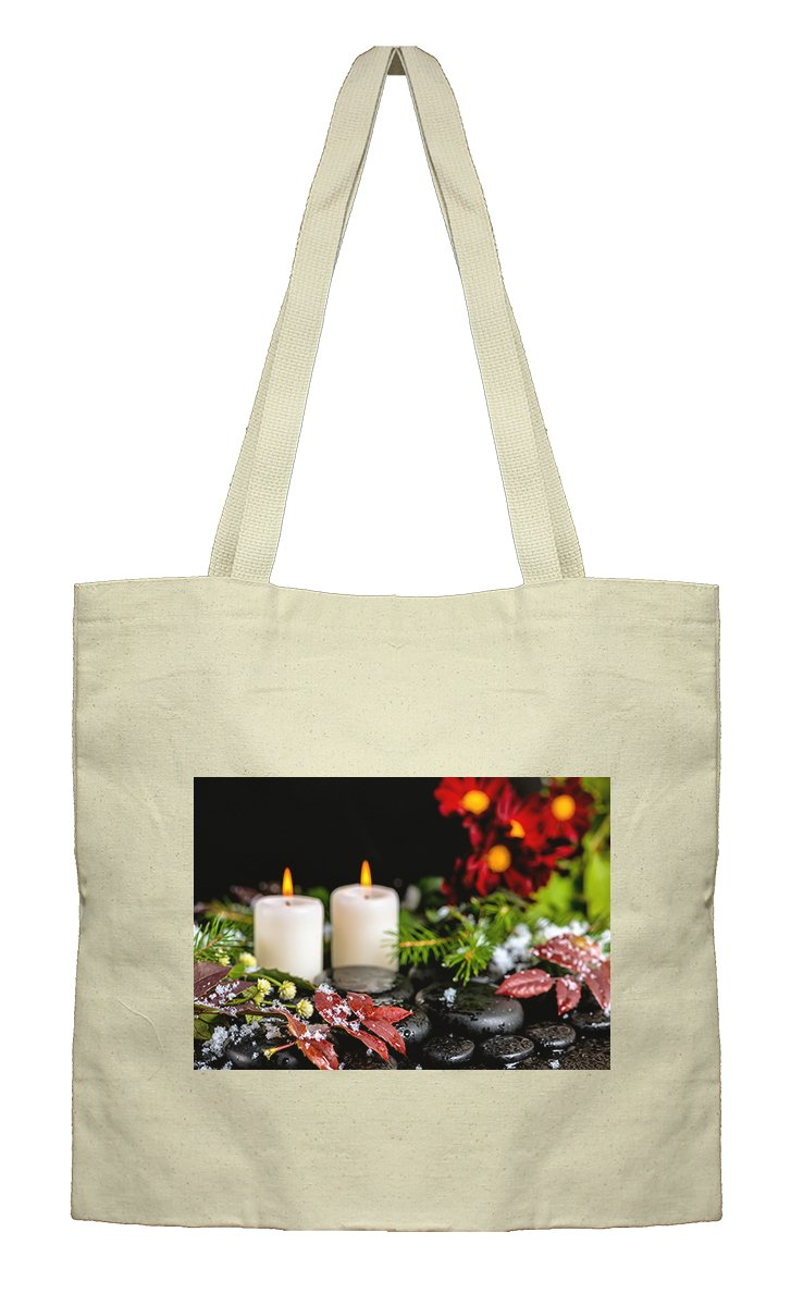 Flat Market Canvas Tote Winter Spa Still Life Red Leaves Drops By Style In Print