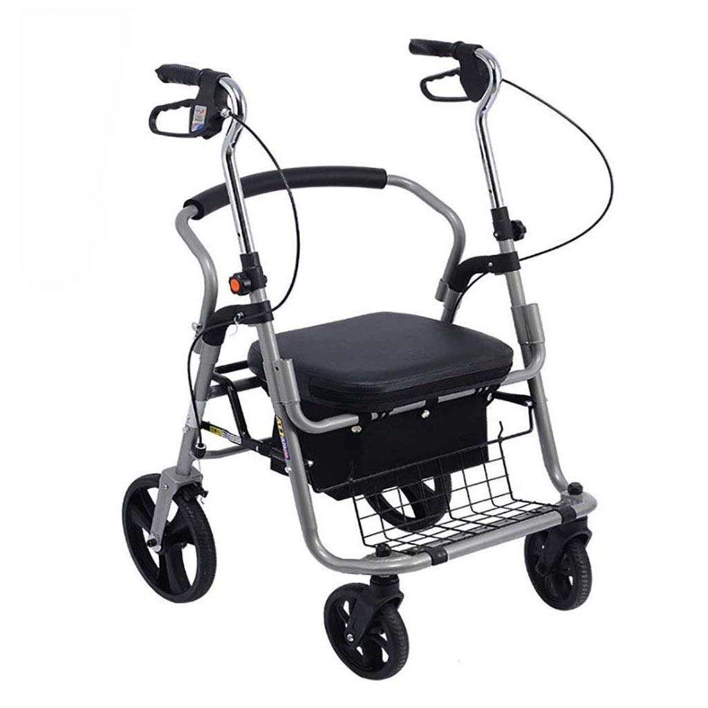 Premium Lightweight Foldable Aluminum Rollator Walker,Adjustable Handle Height with Upholstered Seat and Lower Basket Double Safety Brake Auxiliary Walking Safety Walker (Color : Black B) by YL WALKER