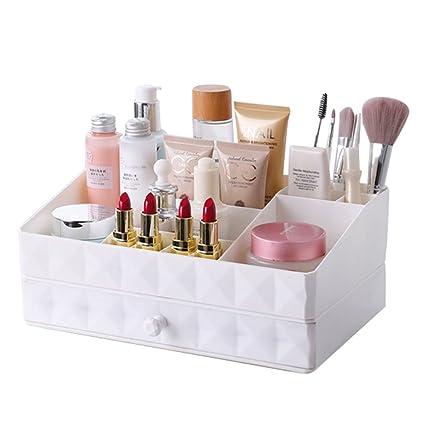 Belleza blanca maquillaje multifuncional joyería organizador accesorios cosméticos maquillaje cajas de almacenamiento