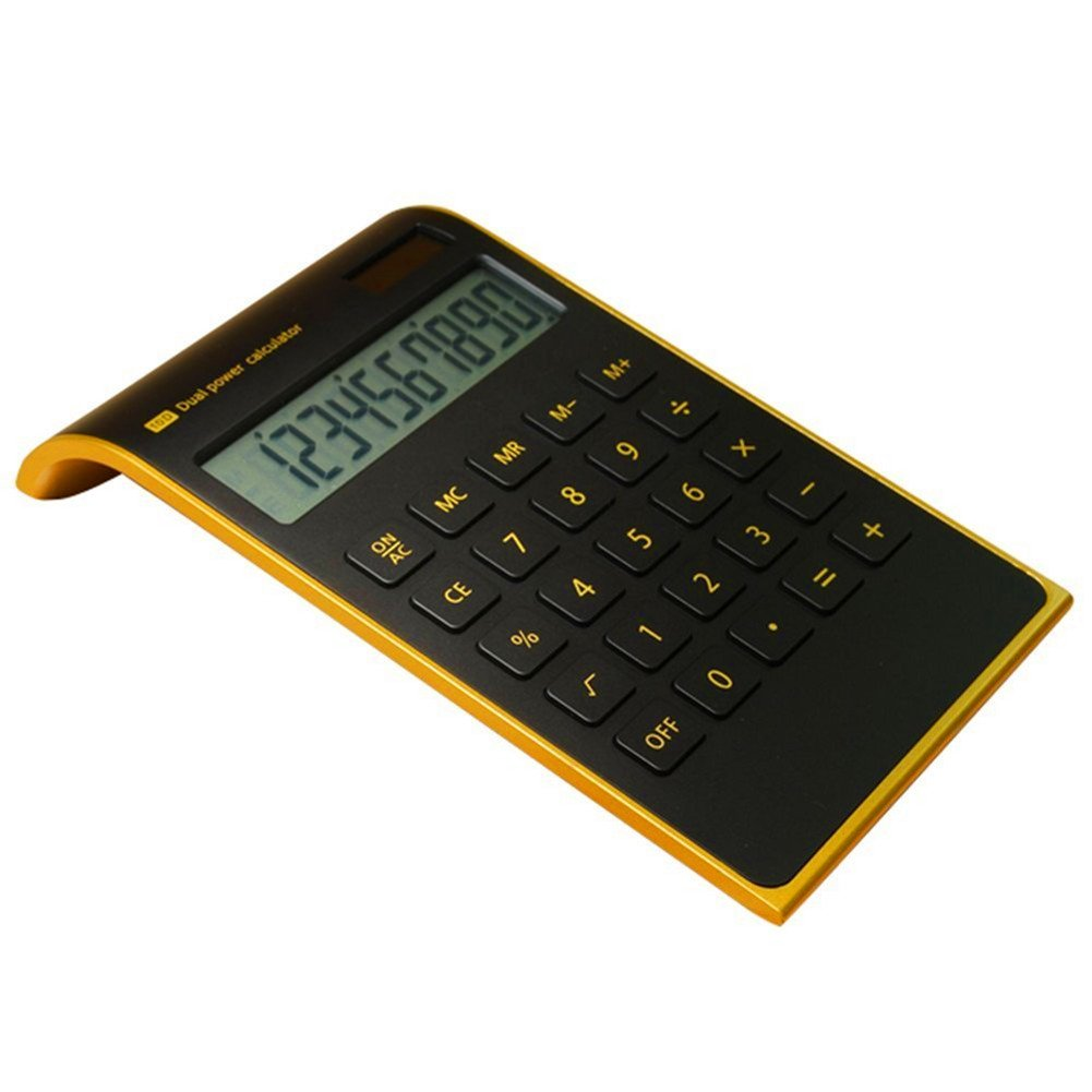 【Letitfly】 Calculator, Slim Elegant Design, Office/home electronics, Dual Powered Desktop Calculator, Solar power, 10 Digits, Tilted LCD Display, Inclined Design, Black (Slim)
