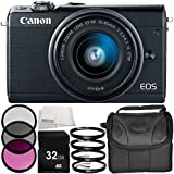 Canon EOS M100 Mirrorless Digital Camera with 15-45mm Lens (Black) 6PC Accessory Bundle – Includes 32GB SD Memory Card + MORE - International Version (No Warranty)