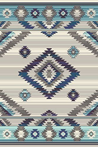 (Expressions South West Native American Indian Area Rug Turquoise Purple Beige Blue Brown Bone Design 1033 (7 Feet 9 Inch X 10 Feet))