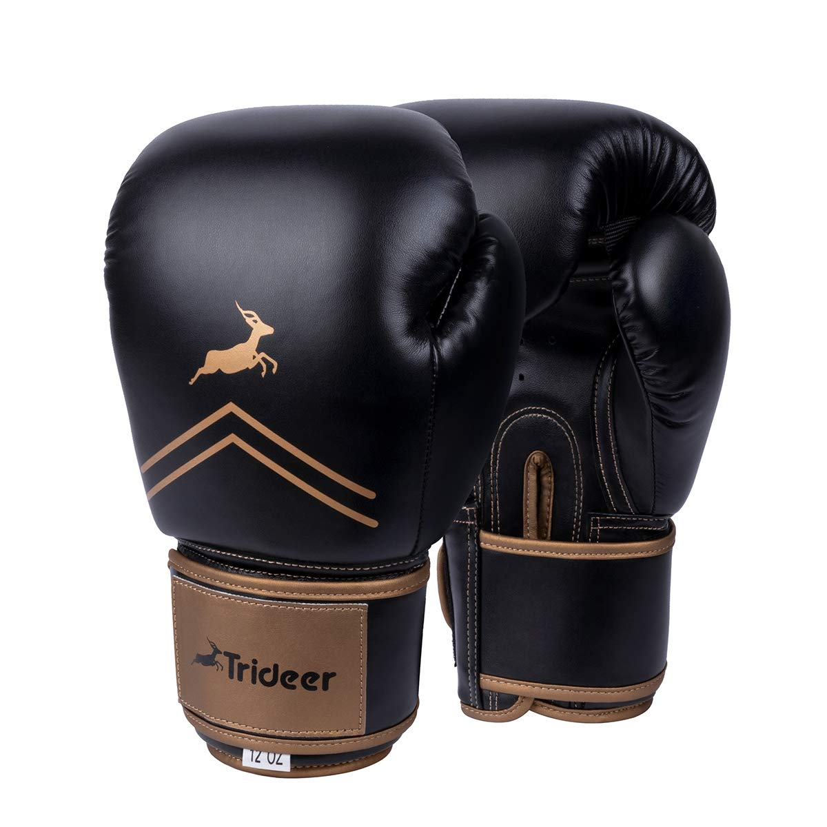 Trideer Pro Grade Boxing Gloves, Kickboxing Bagwork Gel Sparring Training Gloves, Muay Thai Style Punching Bag Mitts, Fight Gloves Men & Women (Black & Gloden, 16 oz)