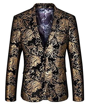 GAGA Mens Dress Floral Suit Notched Lapel Slim Fit Stylish Blazer