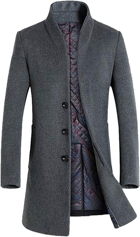 CMCYY Men Stand Neck Quilted Thicken Button Winter Overcoat Wool Blend Coat Jacket