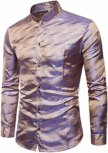 Camisas Botones De Vestir Hombre De Seda Satin Estampada Moda Slim Fit De Manga Larga Formal Negocio Casual Tops Básica Elásticas Blusa: Amazon.es: Ropa y accesorios