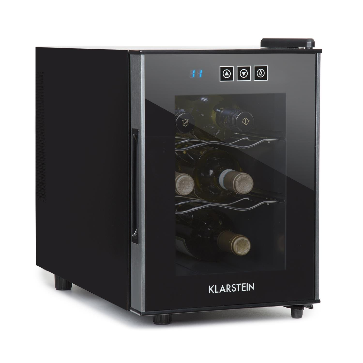 Klarstein Ceres Wine Refrigerator • Wine Fridge • Cooler • 16 Litres • 4 Bottles • Touch • 38 dB in Operation • Glass Door • Setting from 12 to 18 Degrees • Compact • Black