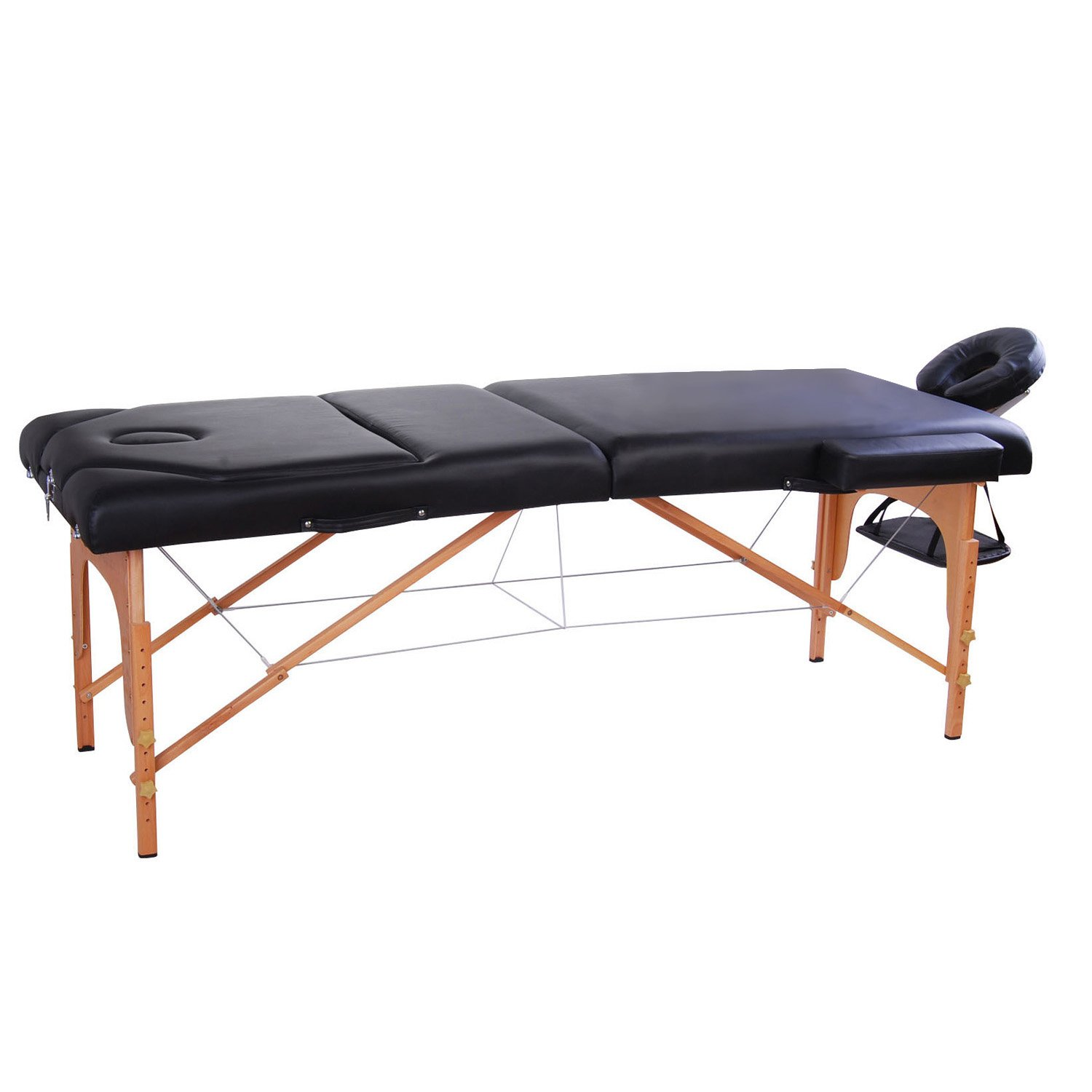 "Soozier 91"" 3 Section 4"" Pad Foldable Massage Table Spa Facial Couch Bed w/ Carry Case Black Aosom Canada 5550-3076BK"