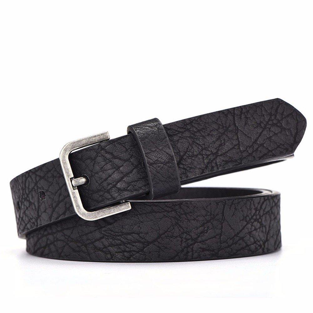 SAIBANGZI Ms Women All Seasons Simple Belt Fine Decoration Fashion Leisure Belt Pin Buckle Girlfriend Present Black 80-90Cm