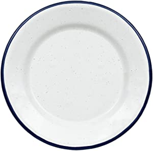 Granite Ware Casual Living 6.25 in. Porcelain Enameled Steel Plate Set, 8 Piece, White & Blue