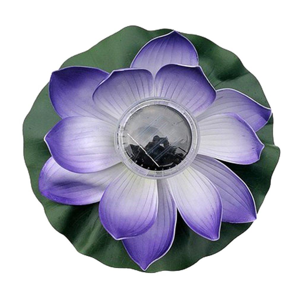 MagiDeal 5 Types Outdoor Solar Power 7 Color LED Flower Lantern Floating Lotus Light Night Pool Lamp Fountain Decor Plants Ornaments - Purple Petals, 28cm