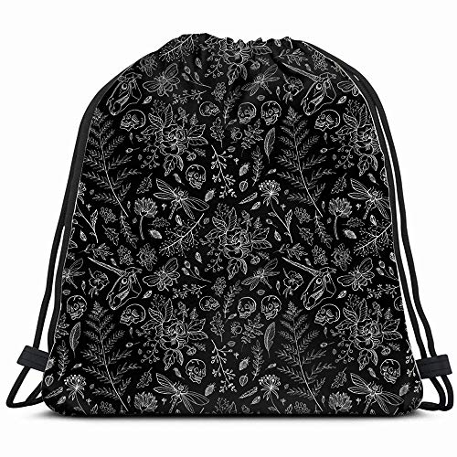(Hand Drawn Huge Animals Wildlife Flower Holidays Drawstring Backpack Sports Gym Bag For Women Men Children Large Size With Zipper And Water Bottle Mesh)