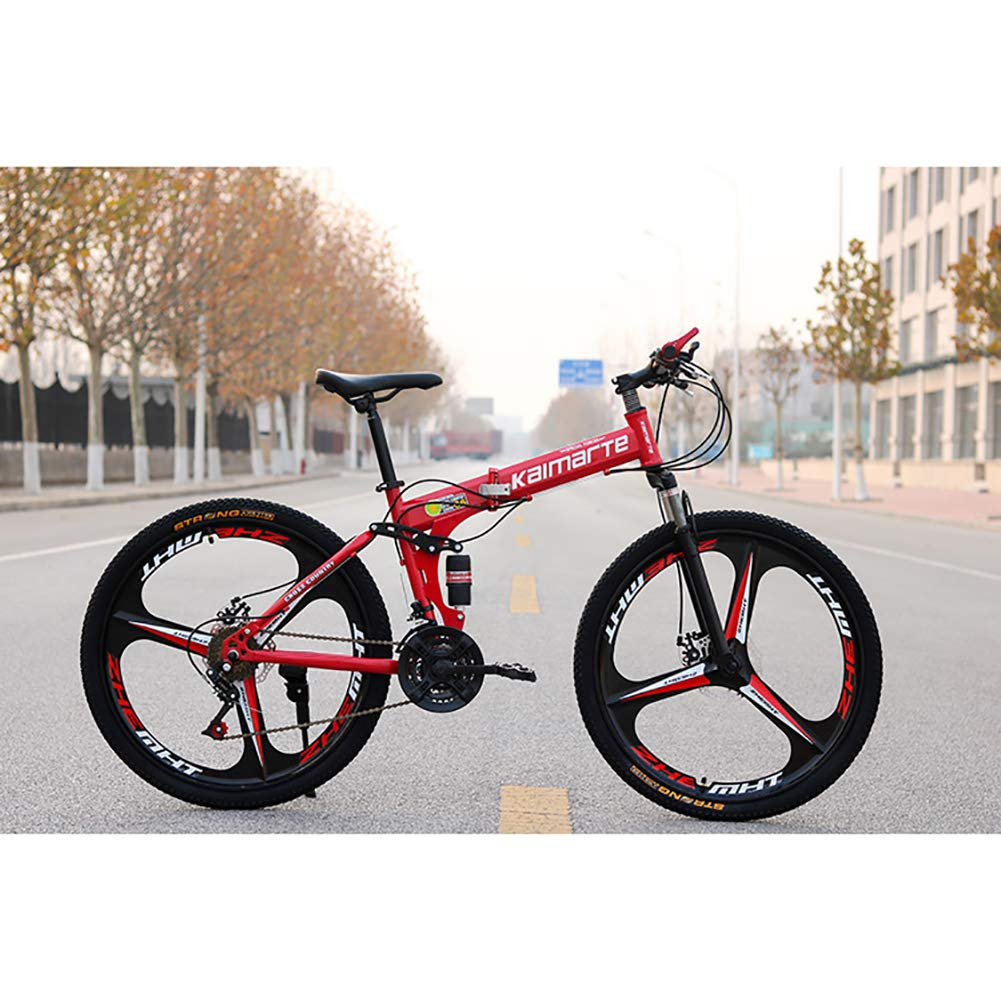 tienda rojo 21Speed FJW Bicicleta Bicicleta Bicicleta de montaña para Hombres, Ruedas de 24 de 3 Pulgadas Marco de Acero de Alto Cochebono, Velocidad 21 24 27 Bicicleta Plegable Doble suspensión Unisexo con Frenos de Disco,azul,21Speed  comprar barato