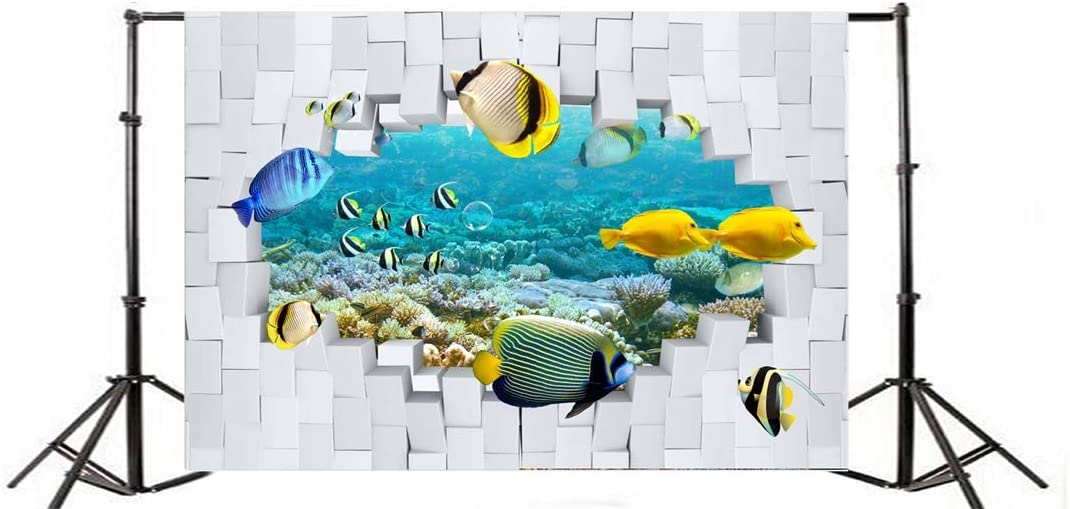 Yeele 10x8ft Tropical Photography Background Cracked White Brick Wall Underwater Seabed Aquarium Oceanarium Tropical Fish Coral Bubble Photo Backdrops Portrait Shooting Studio Props
