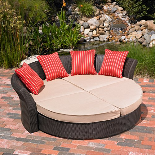 Mission Hills Corinth Daybed Sunbrella Outdoor Patio Round Brown Wicker Rattan Cushion Beige Lounge Furniture (Costco Outdoor Furniture Covers)