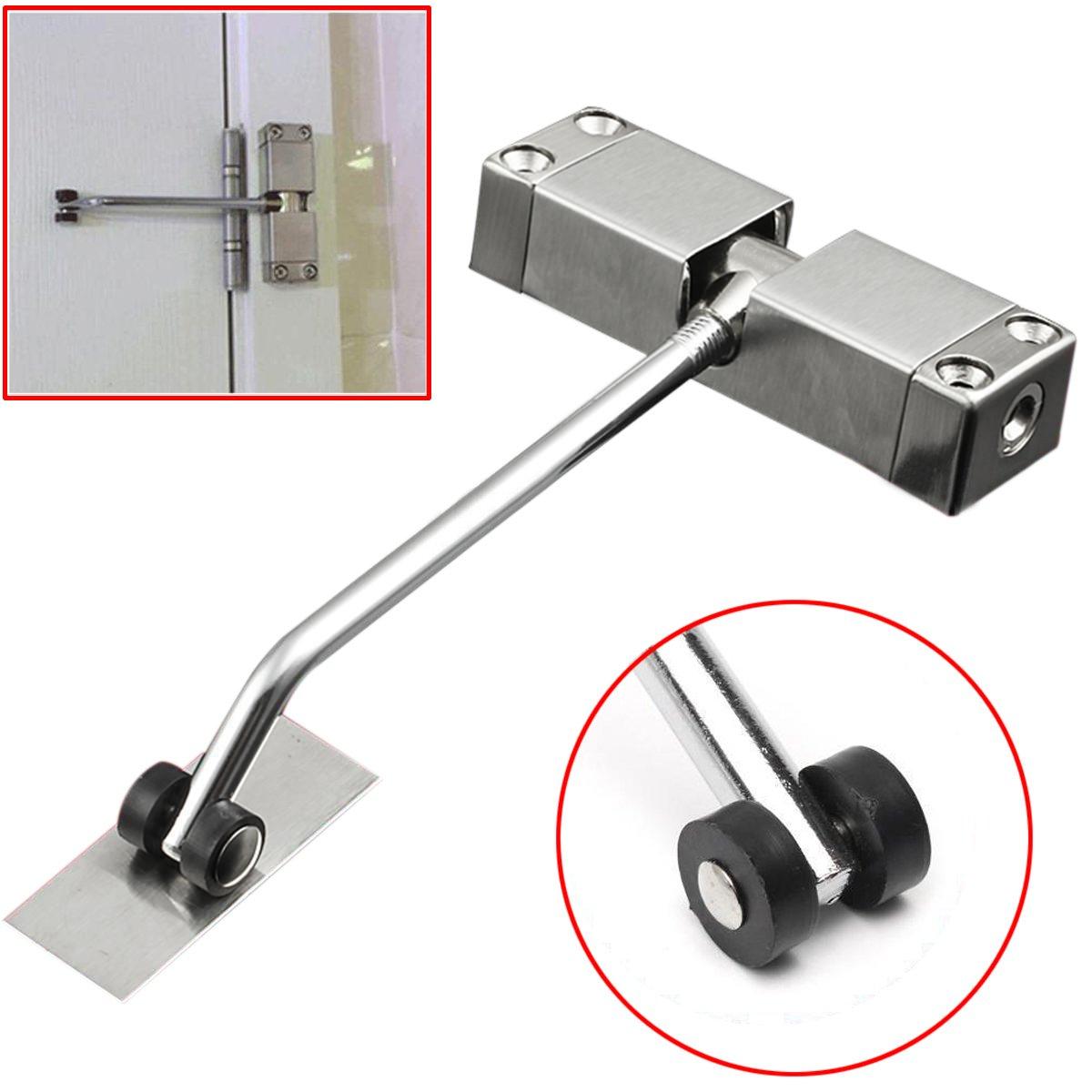 TOOGOO 1pc Automatic Mounted Spring Door Closer Stainless Steel Adjustable Surface Door Closer 160x96x20mm