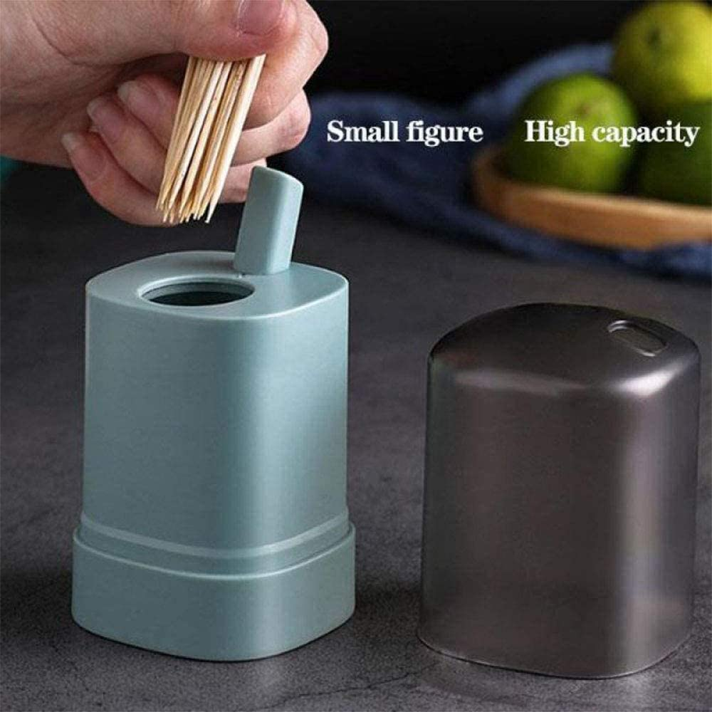 Personality Push Type Automatic Pop-up Toothpick Box Storage Container for Restaurant Kitchen Hand Pressure Toothpick 2 Pcs Portable Pop-up Toothpick Holder Dispenser White