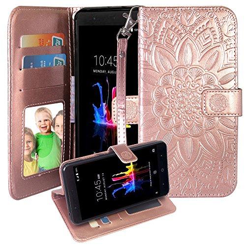 Harryshell for T-Mobile REVVL/Alcatel A30 Fierce 2017 (MetroPCS) / Alcatel A30 Plus/Alcatel Walters Kickstand Flip PU Wallet Leather Protective Case Cover W Card Slot Wrist Strap (Rose Gold)