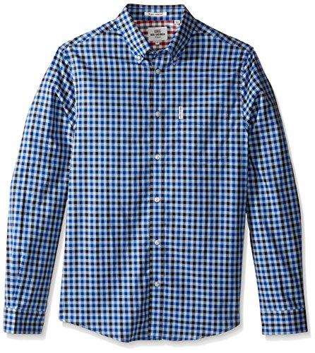 Ben Sherman Men's Long Sleeve House Gingham Button Down Shirt, Sky Blue, X-Large